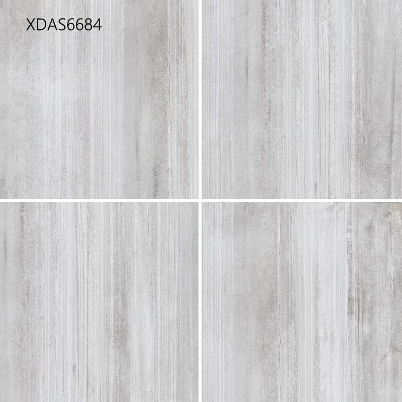 600*600*10MM Gray Glazed Porcelain Tile For Kitchen Floor Corridor Floor  Cement Straight Line Pattern